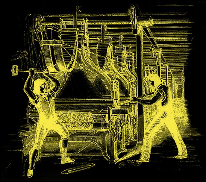 luddites breaking a weaving frame