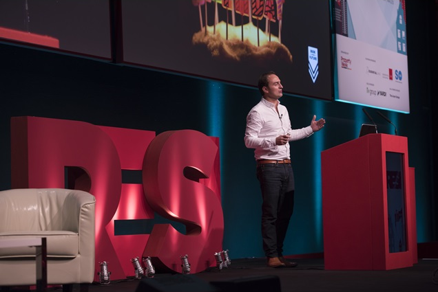 Tom Cheesewright talking about future cities at RESI 2017