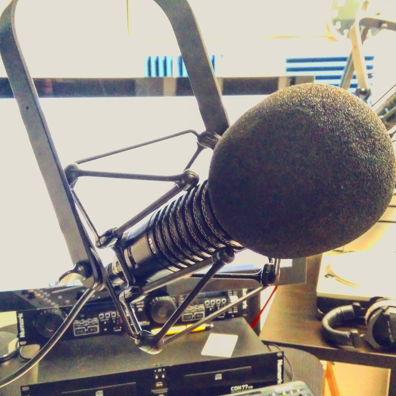 a microphone in a studio